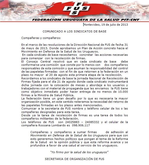 sindicatos de base 19 de julio