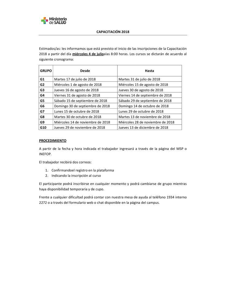 Capacitacion 2018 inscripciones
